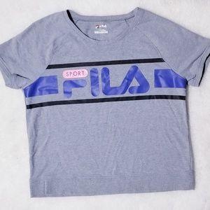 Fila Short Sleeve Sweatshirt Logo Style Gray Top